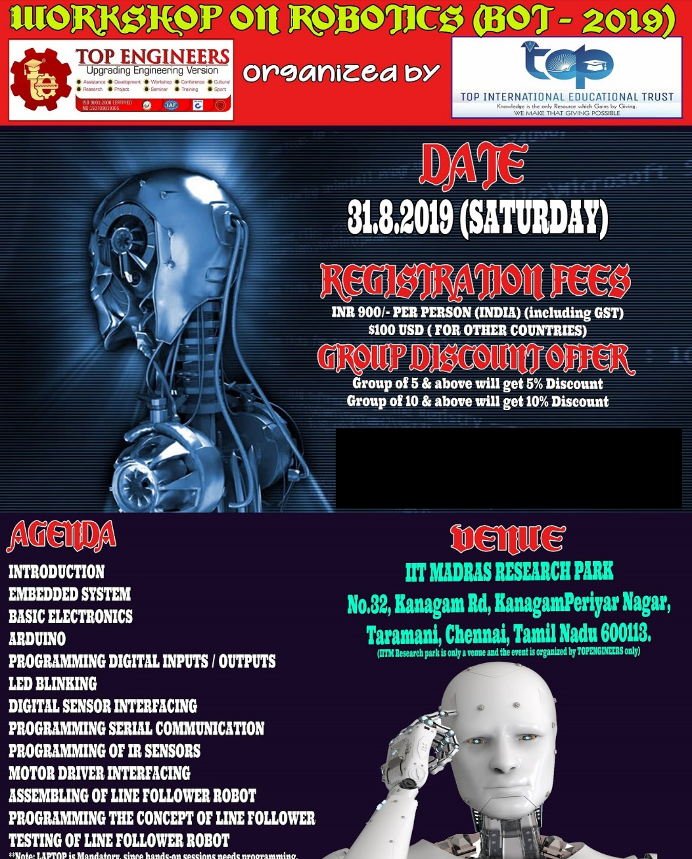 WORKSHOP ON ROBOTICS (BOT - 2019) Tickets by Ercess Live, 31 Aug, 2019,  Chennai Event