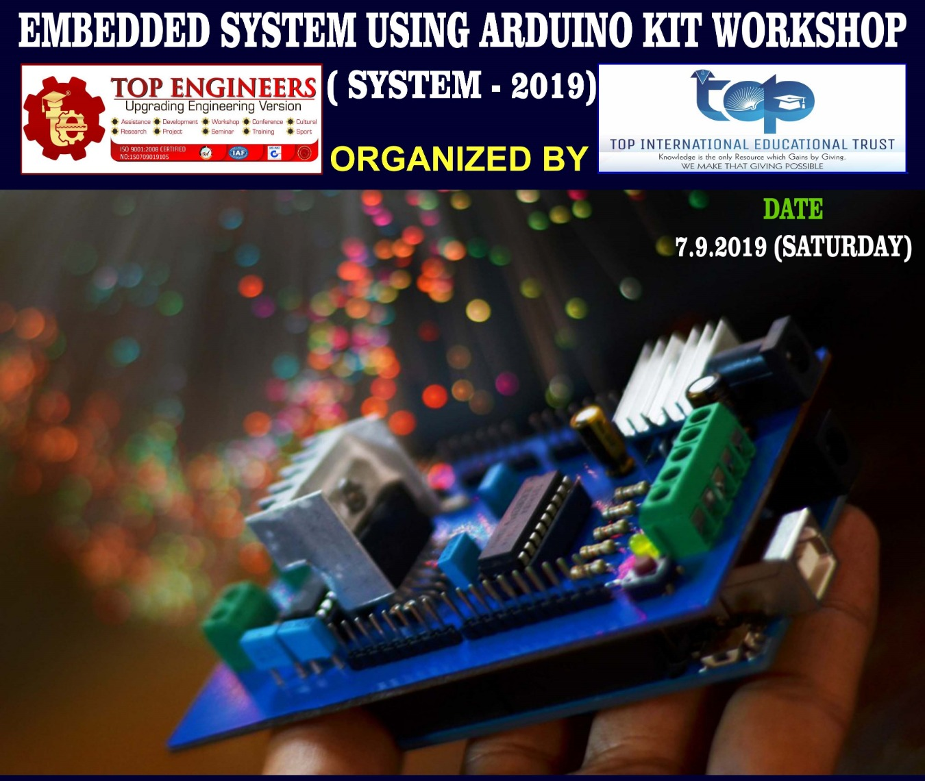 EMBEDDED SYSTEM USING ARDUINO KIT WORKSHOP ( SYSTEM - 2019) Tickets by  Ercess Live, 7 Sep, 2019, Chennai Event