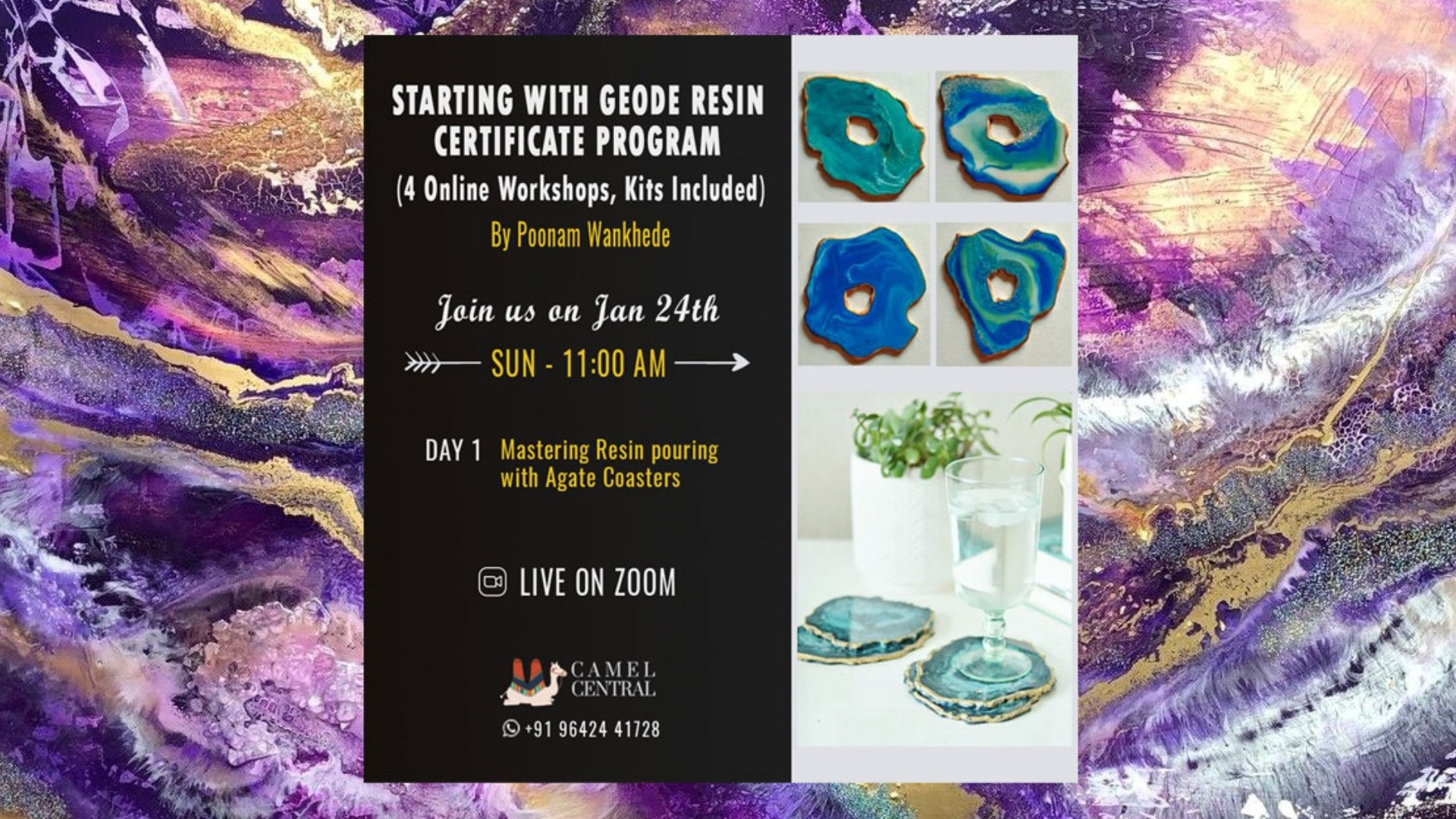 Mastering Resin Pouring With Agate Coasters Online Workshop Kits Included Tickets By Camel Central Sunday January 24 2021 Online Event