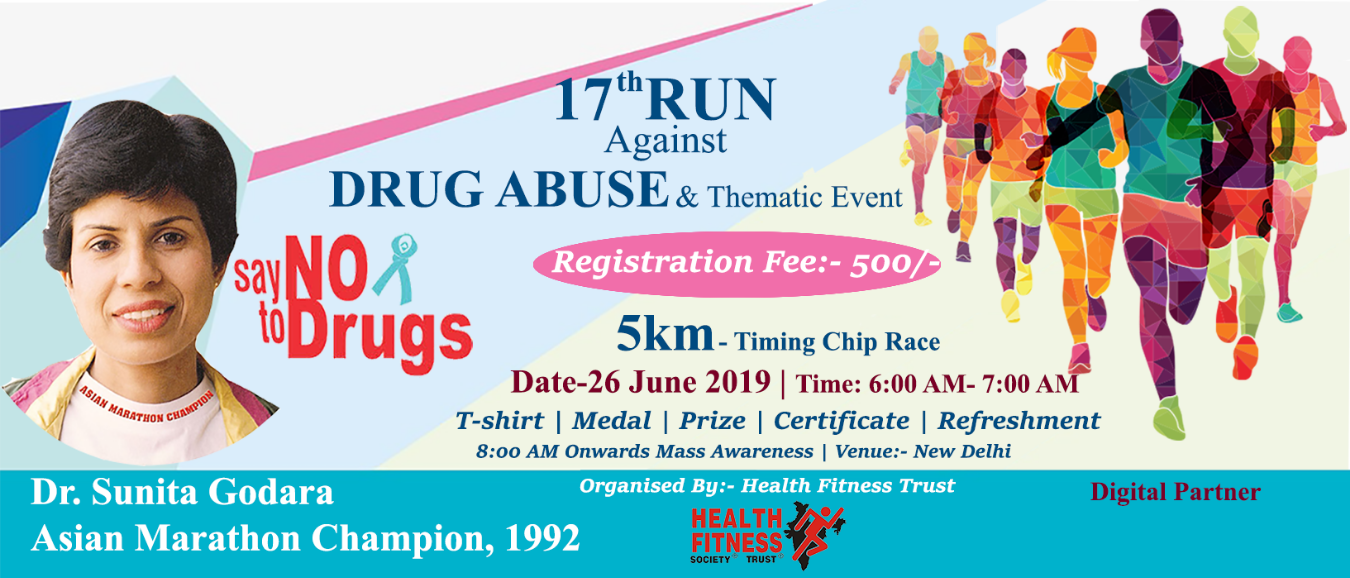 Run against Drug Abuse Tickets by Health Fitness Trust, 26 Jun, 2019, New  Delhi Event