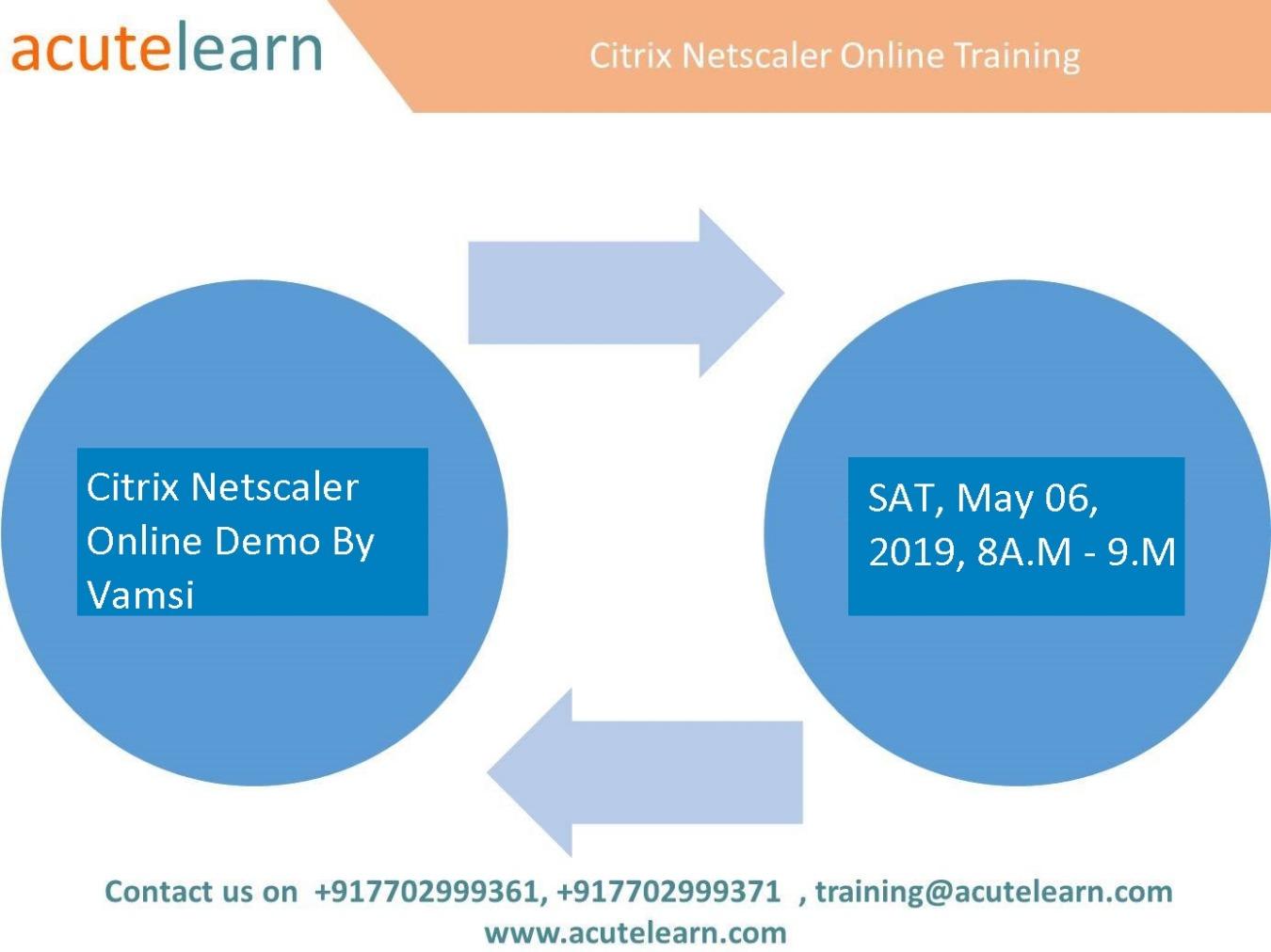 Citrix Netscaler Demo session on 06-May-19 i e  Monday at 8AM(IST