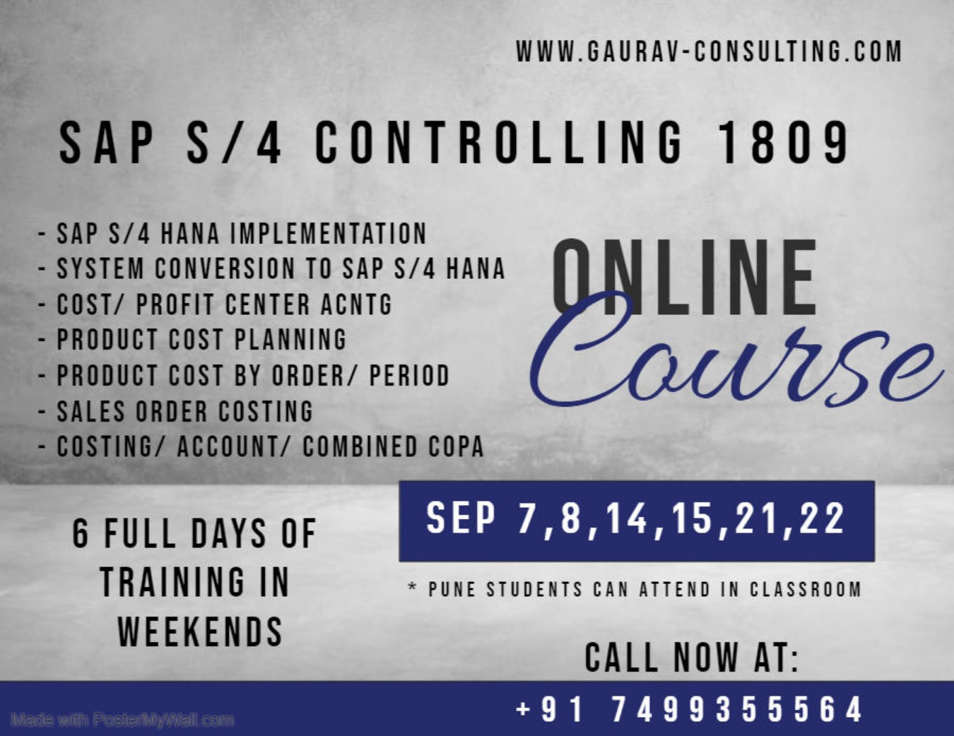 SAP S/4 HANA Controlling Online/ Classroom Workshop on Weekends in Pune  Tickets by Gaurav Learning Solutions, 7 Sep, 2019, Pune Event