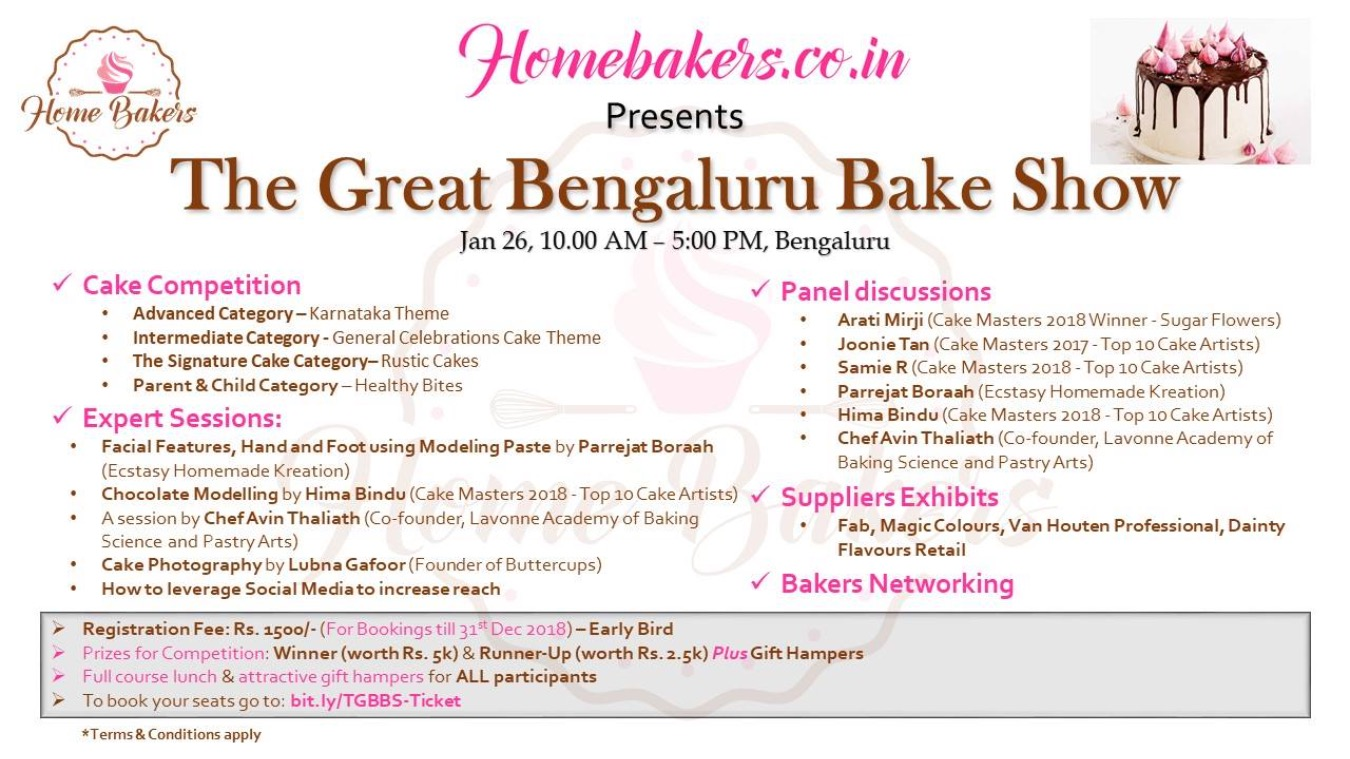 The Great Bengaluru Bake Show Tickets by HOMEBAKERS CO IN, 26 Jan, 2019,  Bengaluru Event