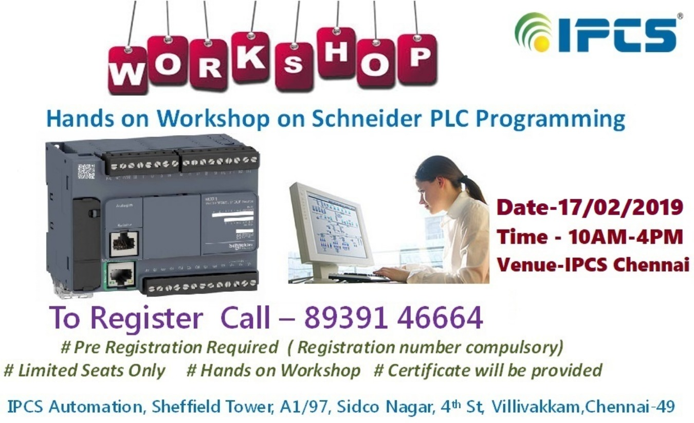 Workshop on SCHNEIDER PLC Programming Tickets by IPCS Automation, 17 Feb,  2019, Chennai Event