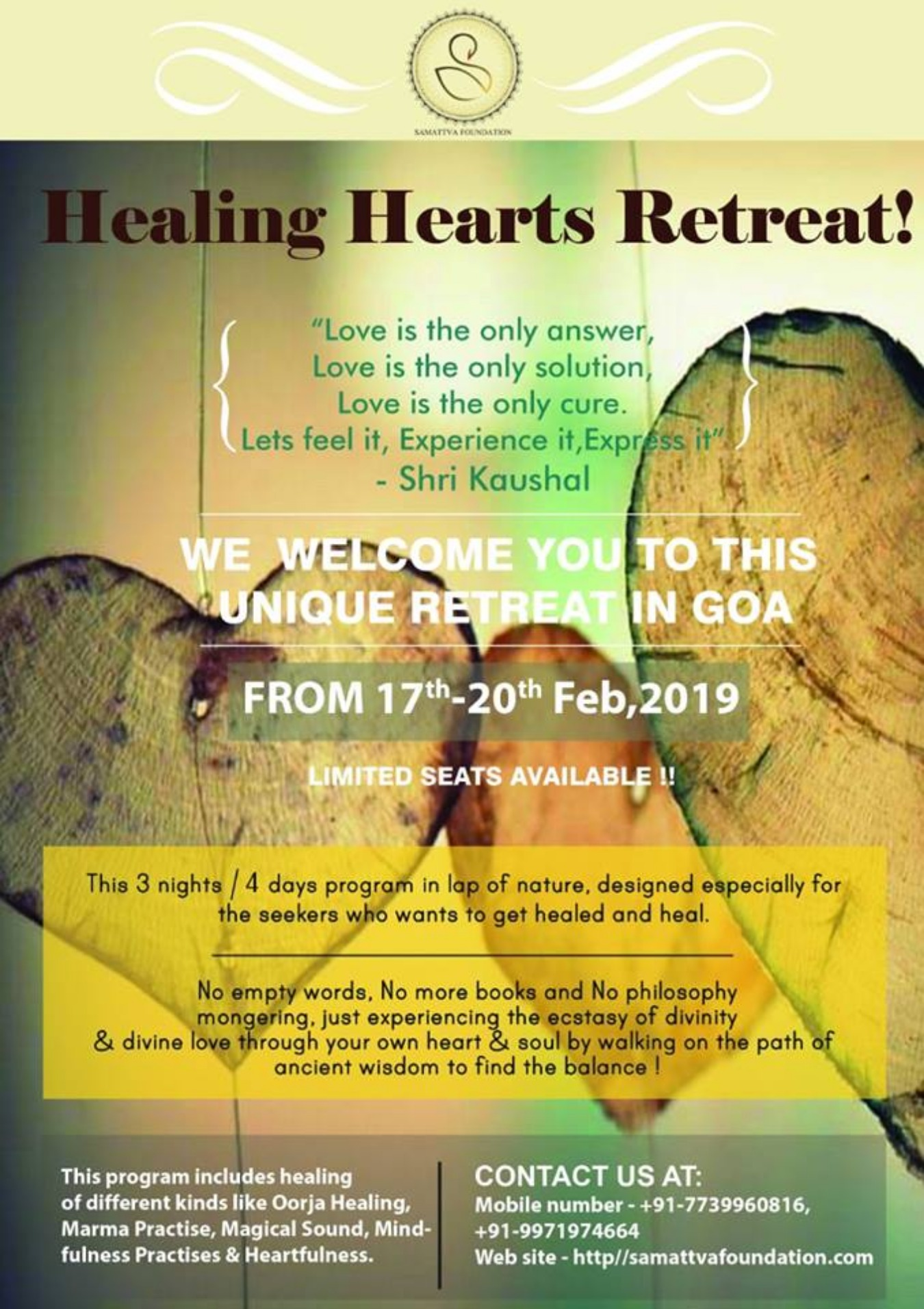 Healing Hearts - Yoga Retreat Tickets by Shri Kaushal, 17 Feb, 2019, Velha  Goa Event