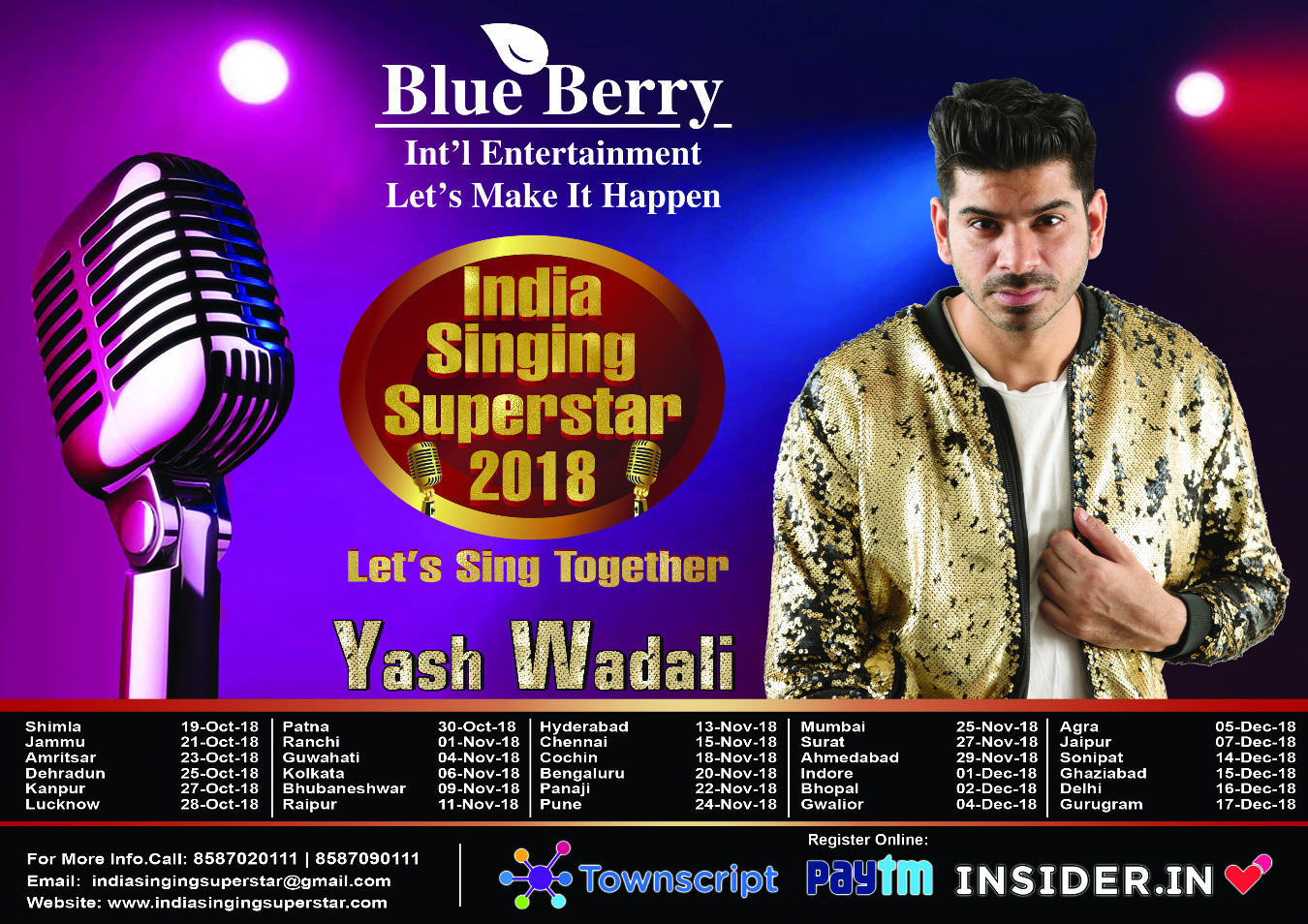 INDIA SINGING SUPERSTAR Patna 2018 Tickets by BLUEBERRY INTERNATIONAL  ENTERTAINMENT, 30 Oct, 2018, Patna Event