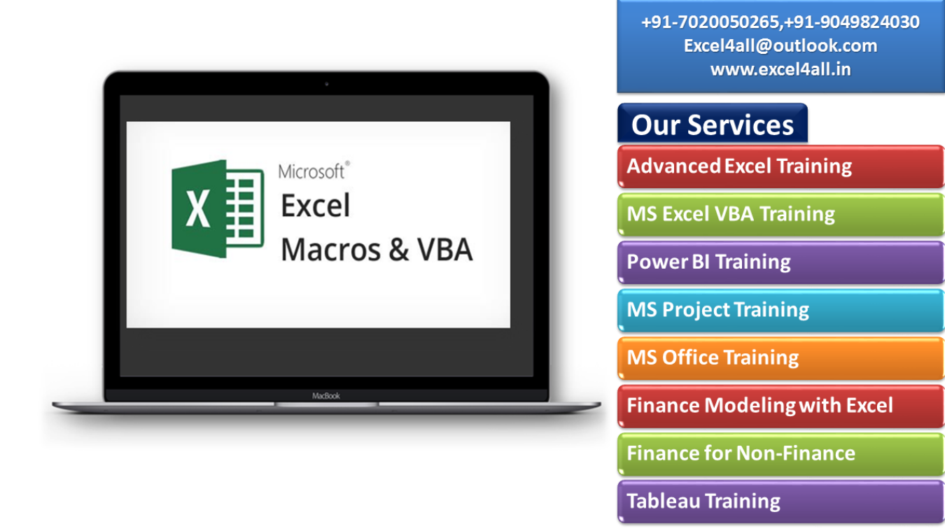 Excel VBA and Macro Training in Pune Tickets by Excel4all, 11 Aug, 2018,  Pune Event