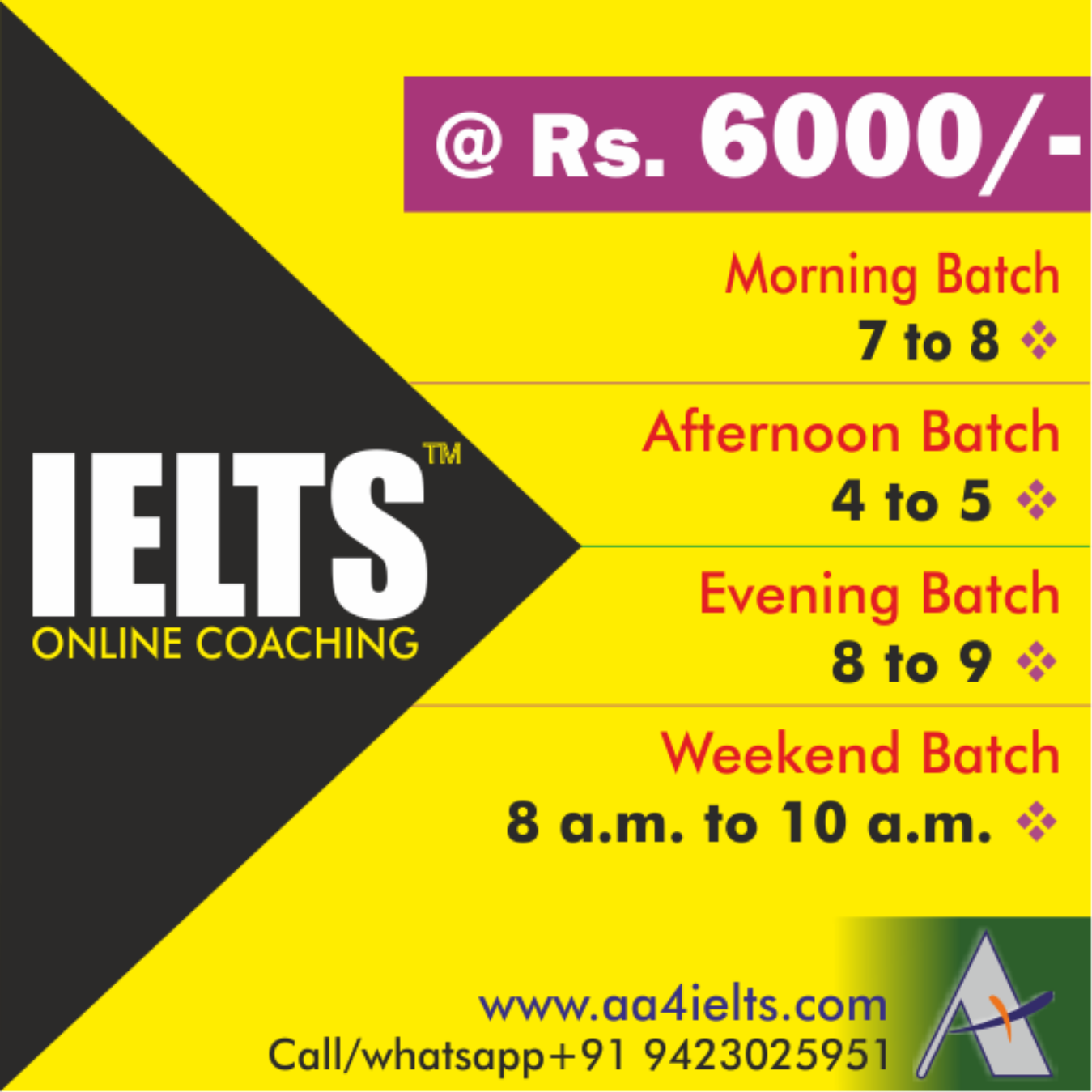 IELTS Online Coaching Tickets by APlus, 9 Sep, 2019, NA Event