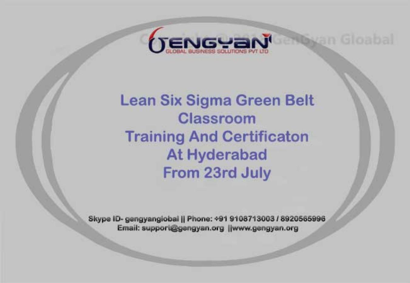 Lean Six Sigma Green Belt Classroom Training Hyderabad Tickets By
