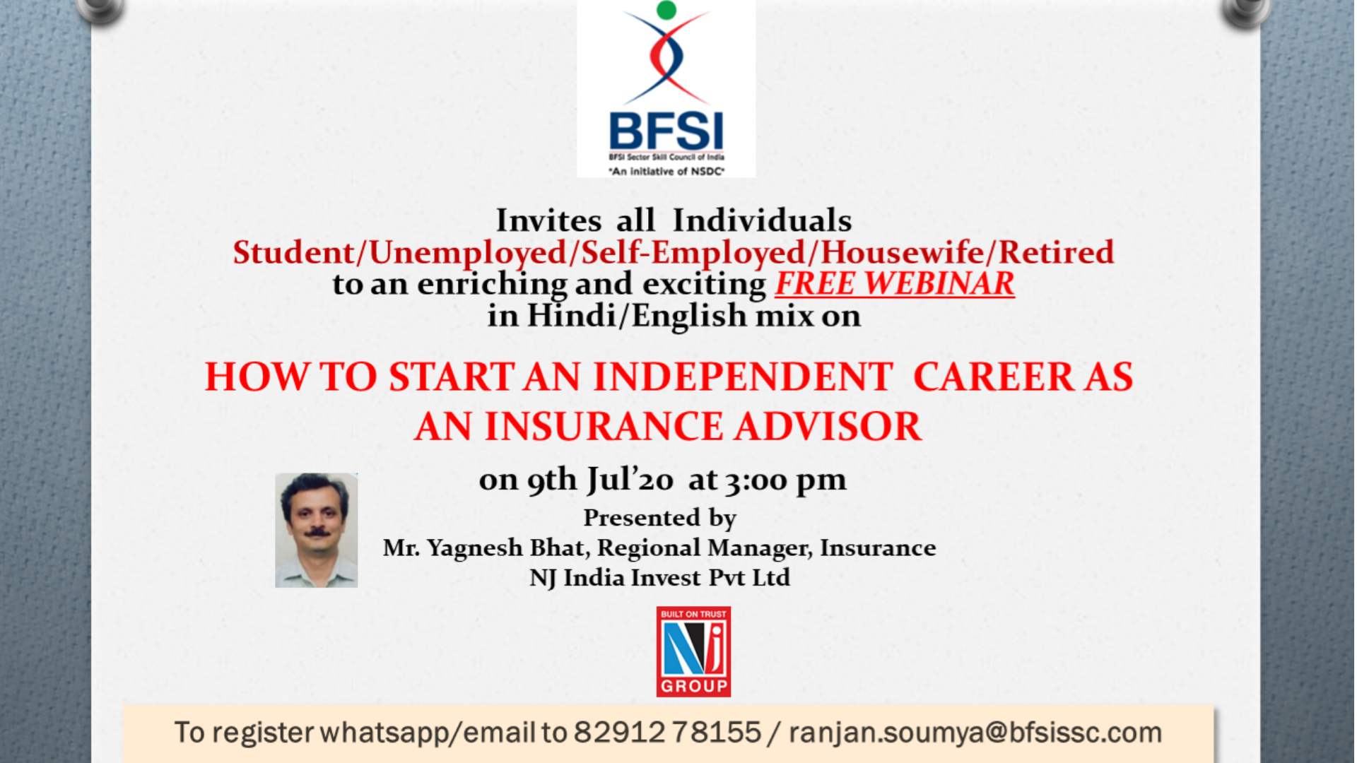 BECOME AN INSURANCE ADVISOR Tickets by BFSI SSC, Thursday ...