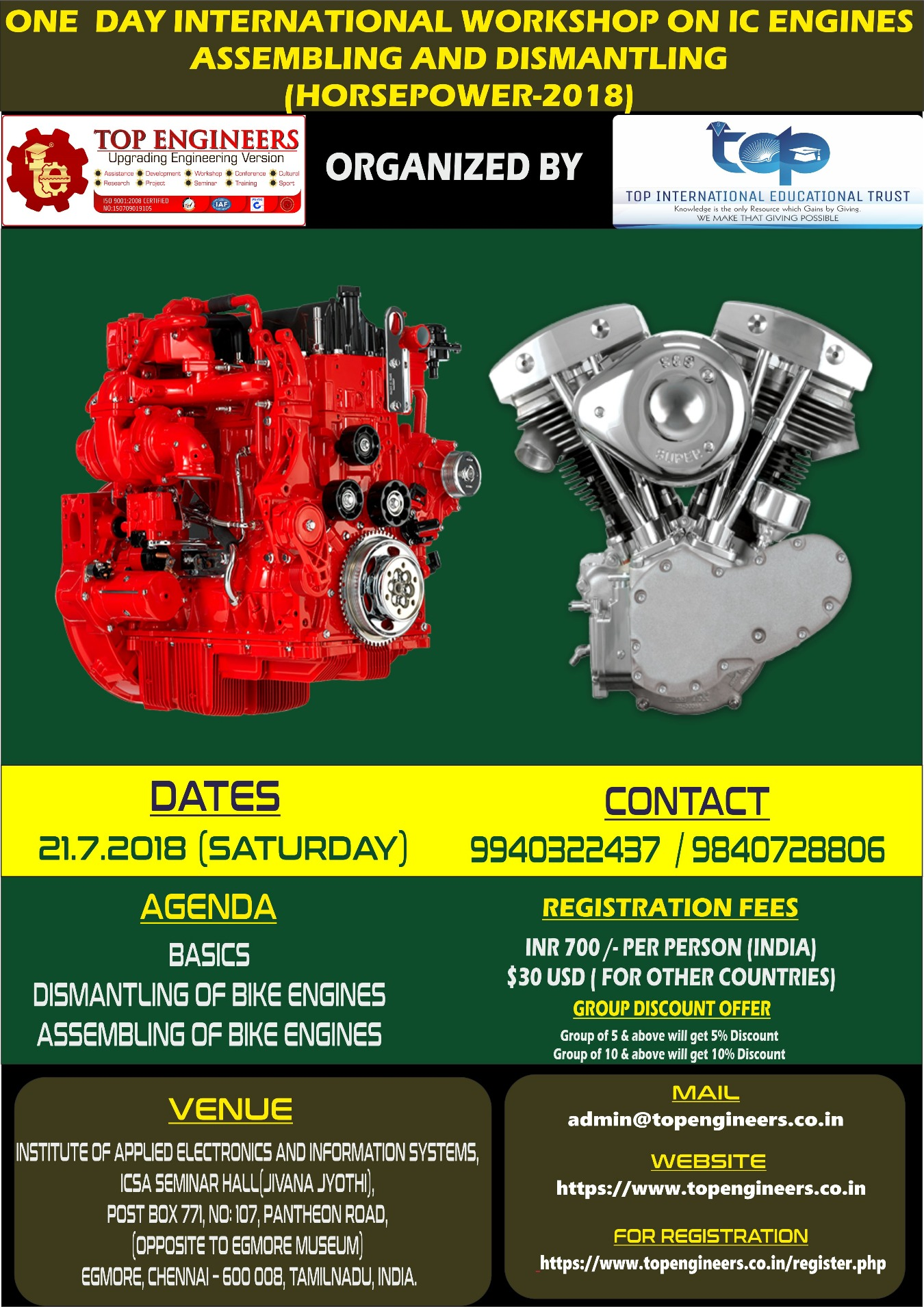 ONE DAY INTERNATIONAL WORKSHOP ON IC ENGINES ASSEMBLING AND DISMANTLING  (HORSEPOWER-2018) Tickets by TOP ENGINEERS, 21 Jul, 2018, Chennai Event