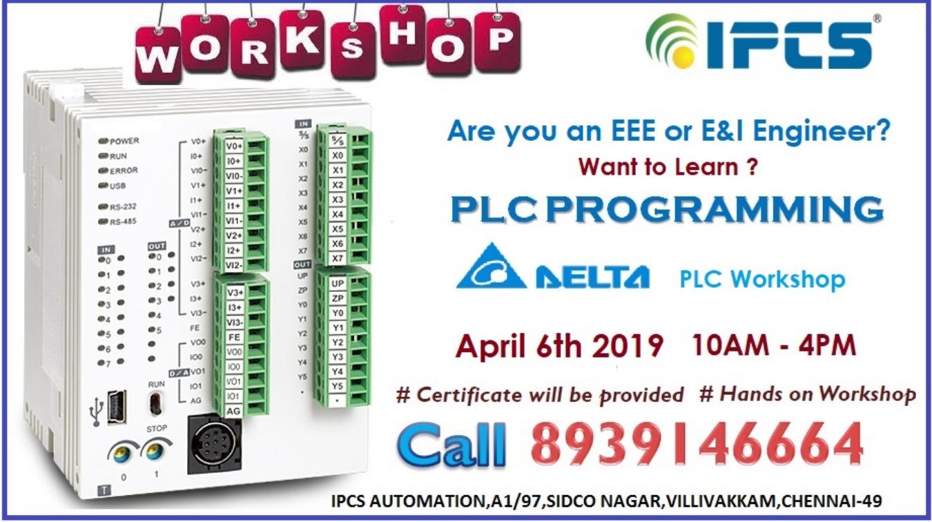 Workshop on DELTA PLC Programming Tickets by IPCS Automation, 6 Apr, 2019,  Chennai Event
