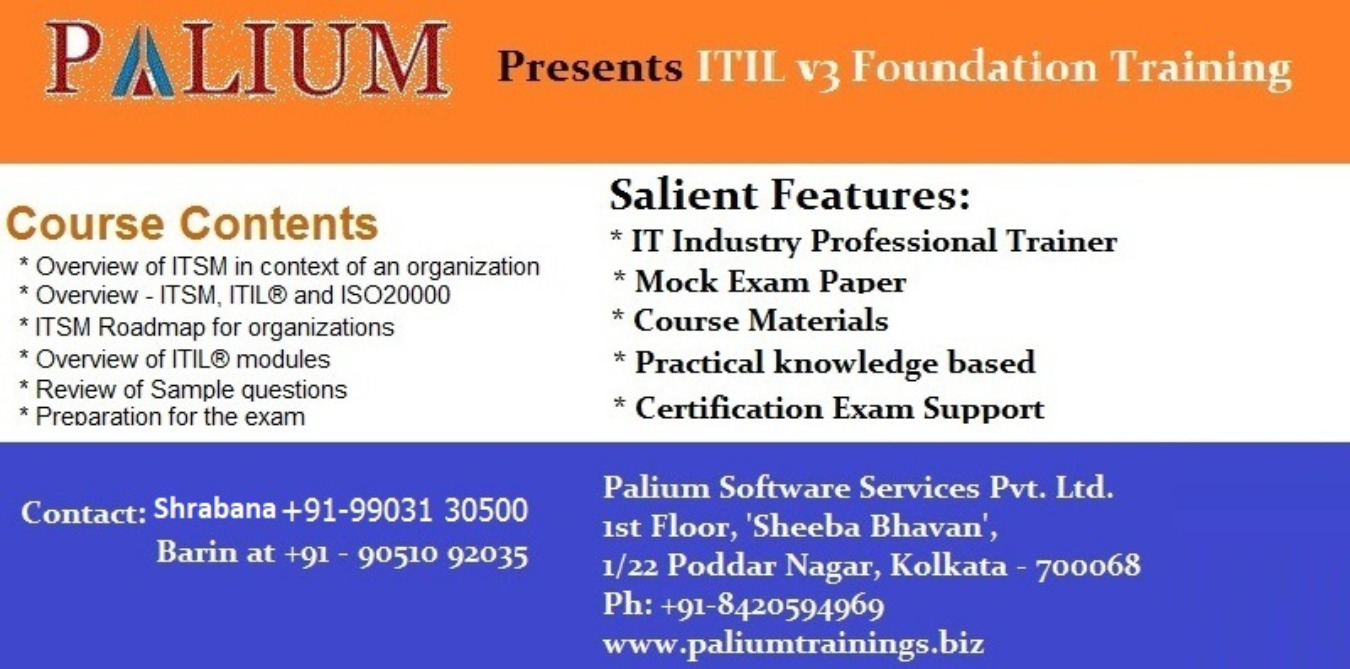 Itilv3 Foundation Certification Tickets By Palium Skills 17 Nov