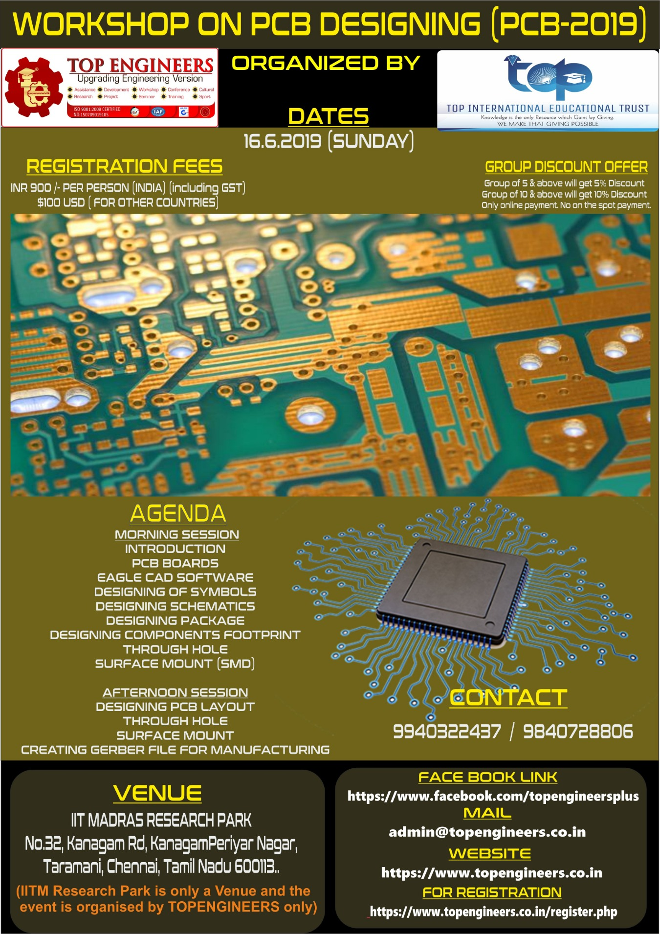 WORKSHOP ON PCB DESIGNING (PCB-2019) Tickets by TOP ENGINEERS, 16 Jun,  2019, Chennai Event