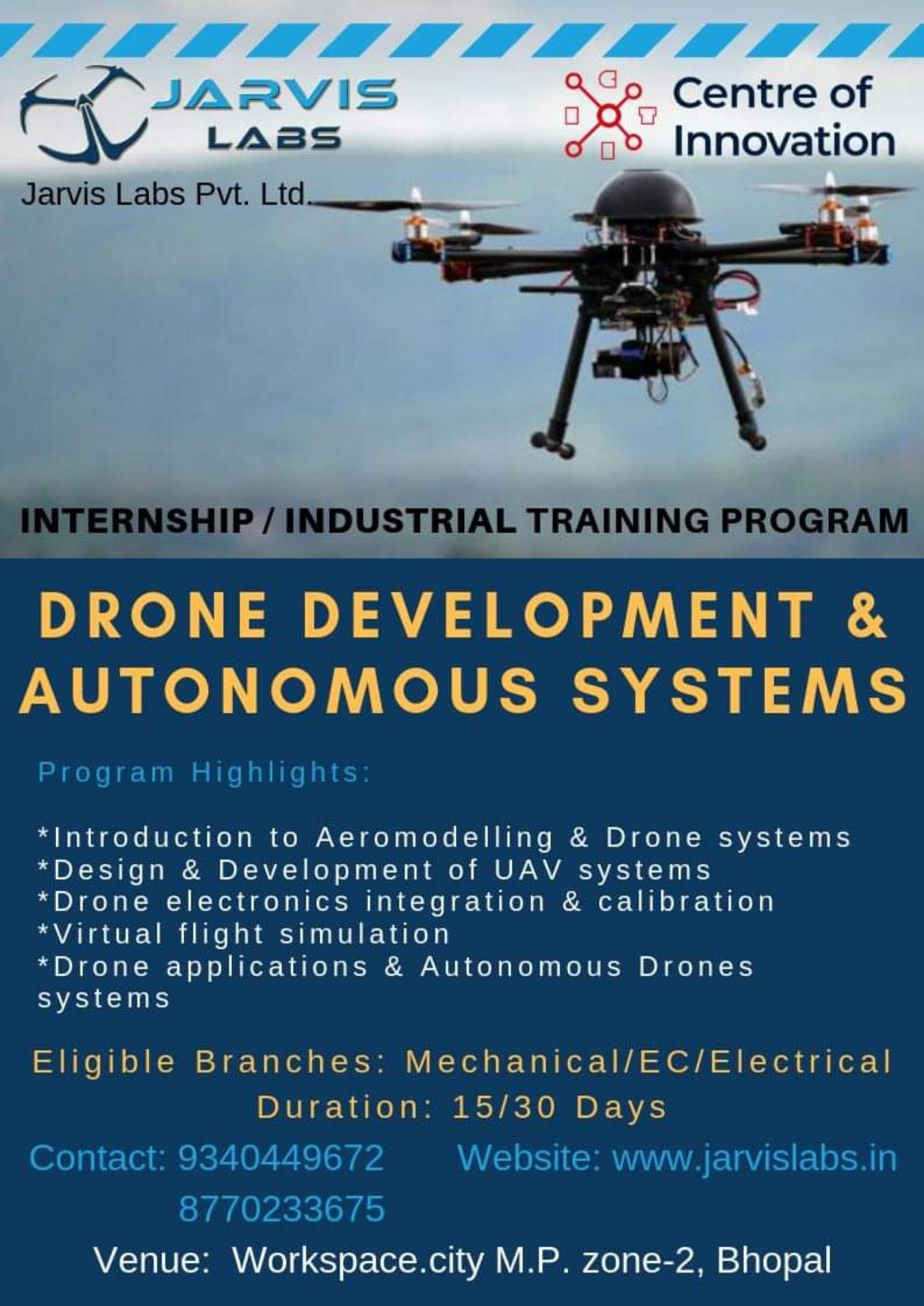 Drone development & Autonomous systems Internship/ Industrial Training  program Tickets by Workspace City, Bhopal Event