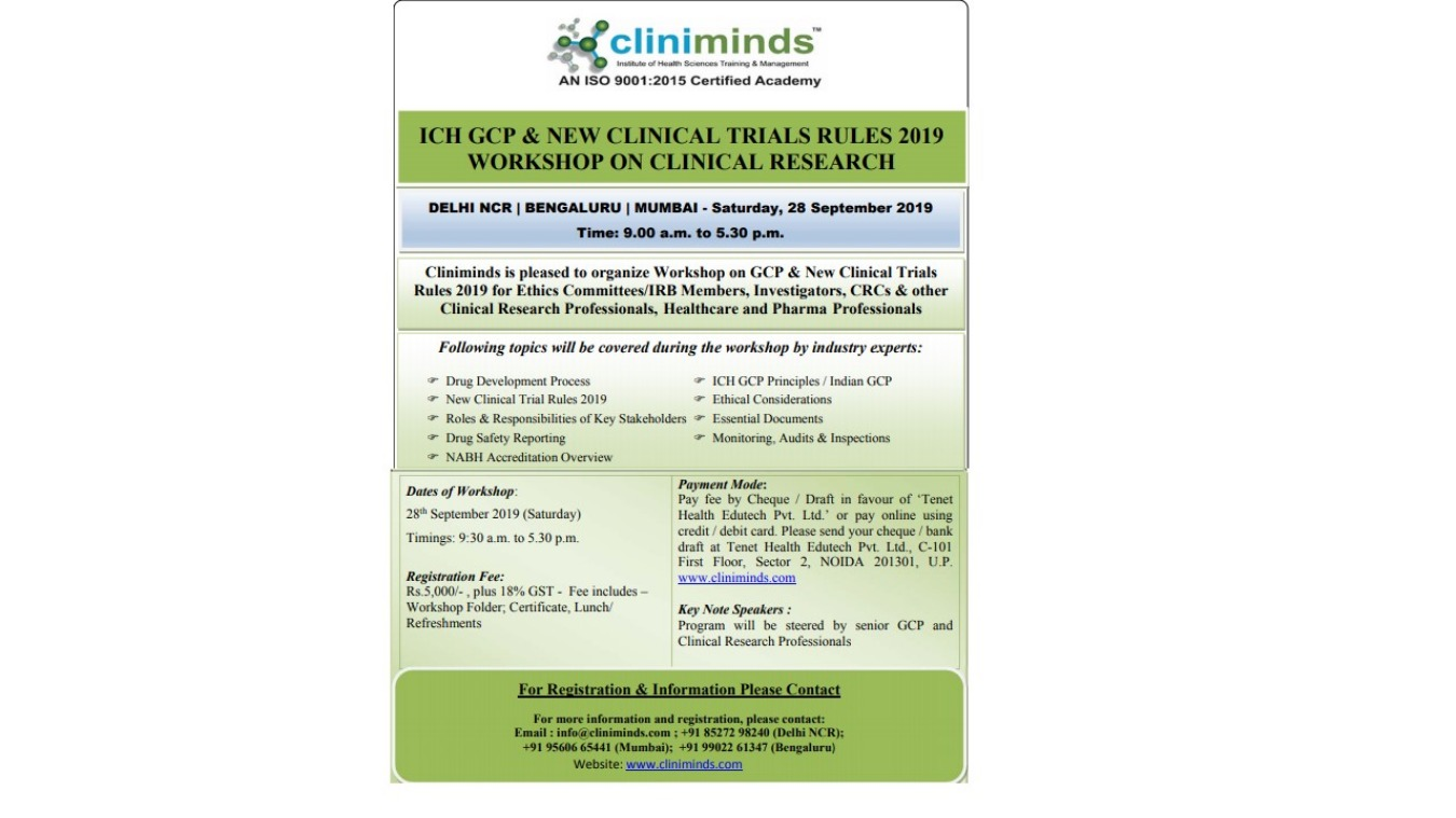 ICH GCP & NEW CLINICAL TRIALS RULES 2019 WORKSHOP ON CLINICAL RESEARCH  :NOIDA Tickets by kamal shahani, 28 Sep, 2019, Noida Event