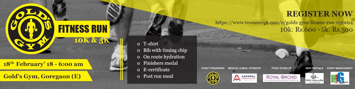 Gold's Gym Fitness Run Tickets by Big Marathon, 18 Feb