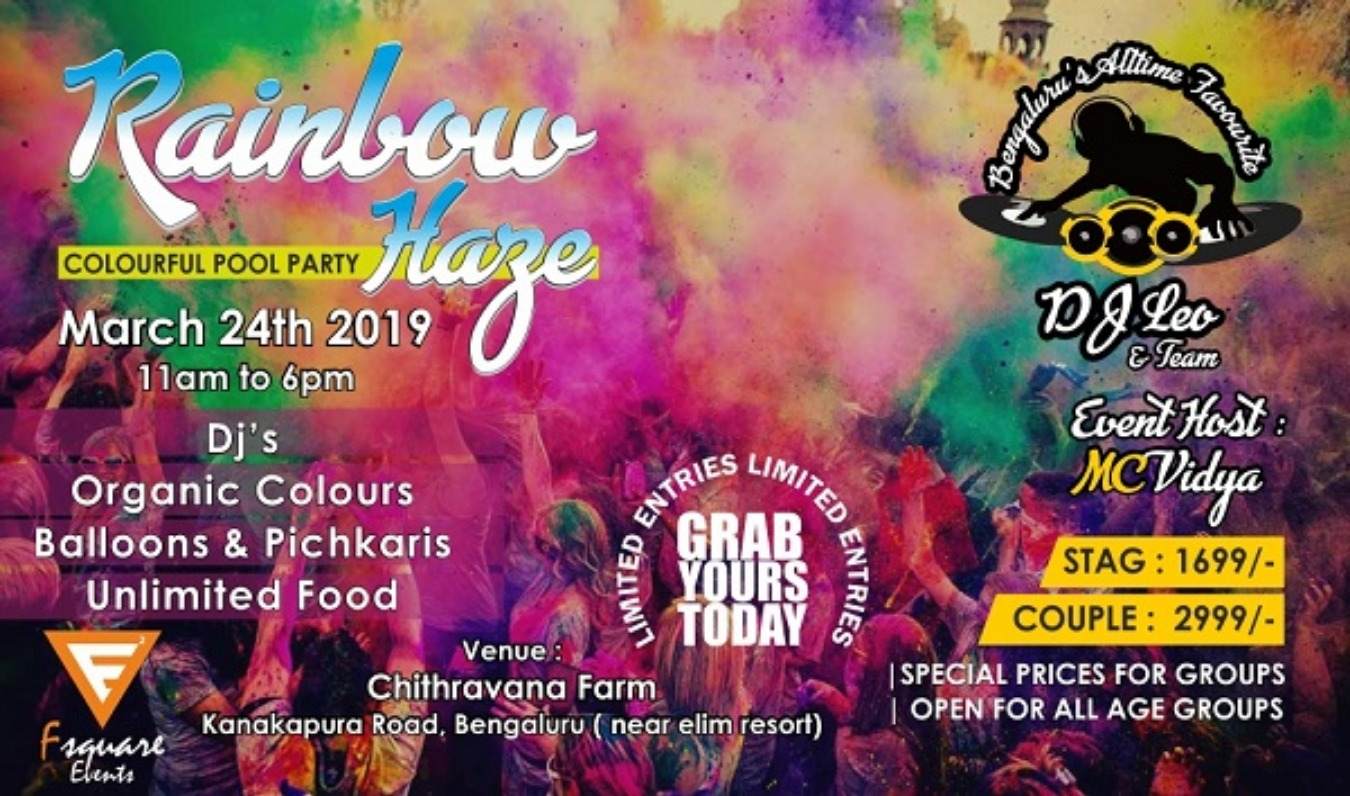 Rainbow Haze (Colourful Pool Party) Tickets by FSquare Event, 24 Mar, 2019,  Bengaluru Event