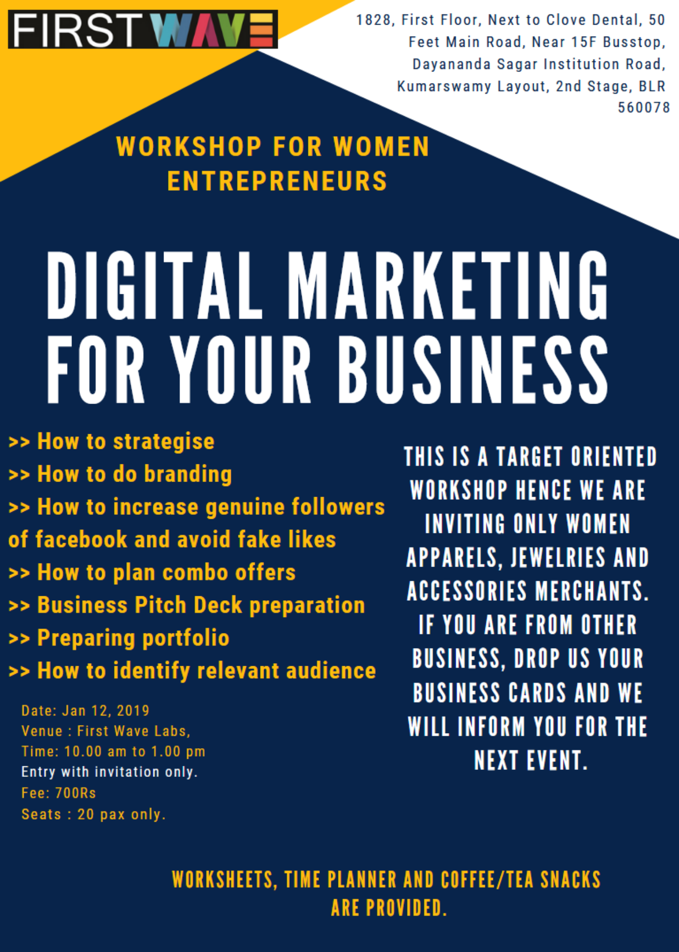 Workshop for Women Entrepreneurs - Digital Marketing for your business  Tickets by Shruthi Bharadwaj, 12 Jan, 2019, Bengaluru Event
