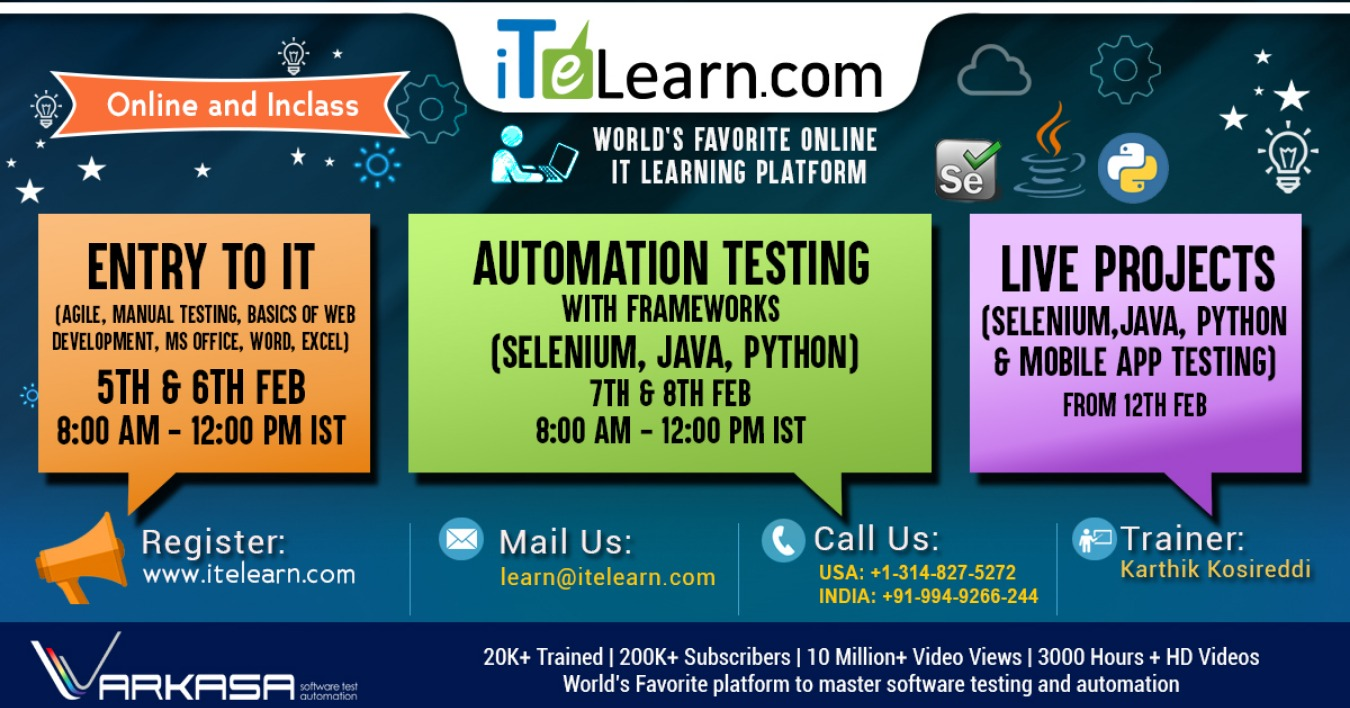 ENTRY TO IT : AUTOMATION TESTING WITH FRAMEWORKS (SELENIUM, JAVA
