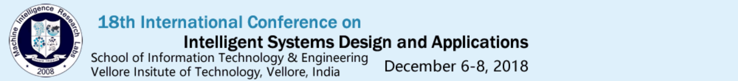 18th International Conference On Intelligent Systems Design And Applications Isda Tickets By Ashish Kumar Thursday December 06 2018 Vellore Event