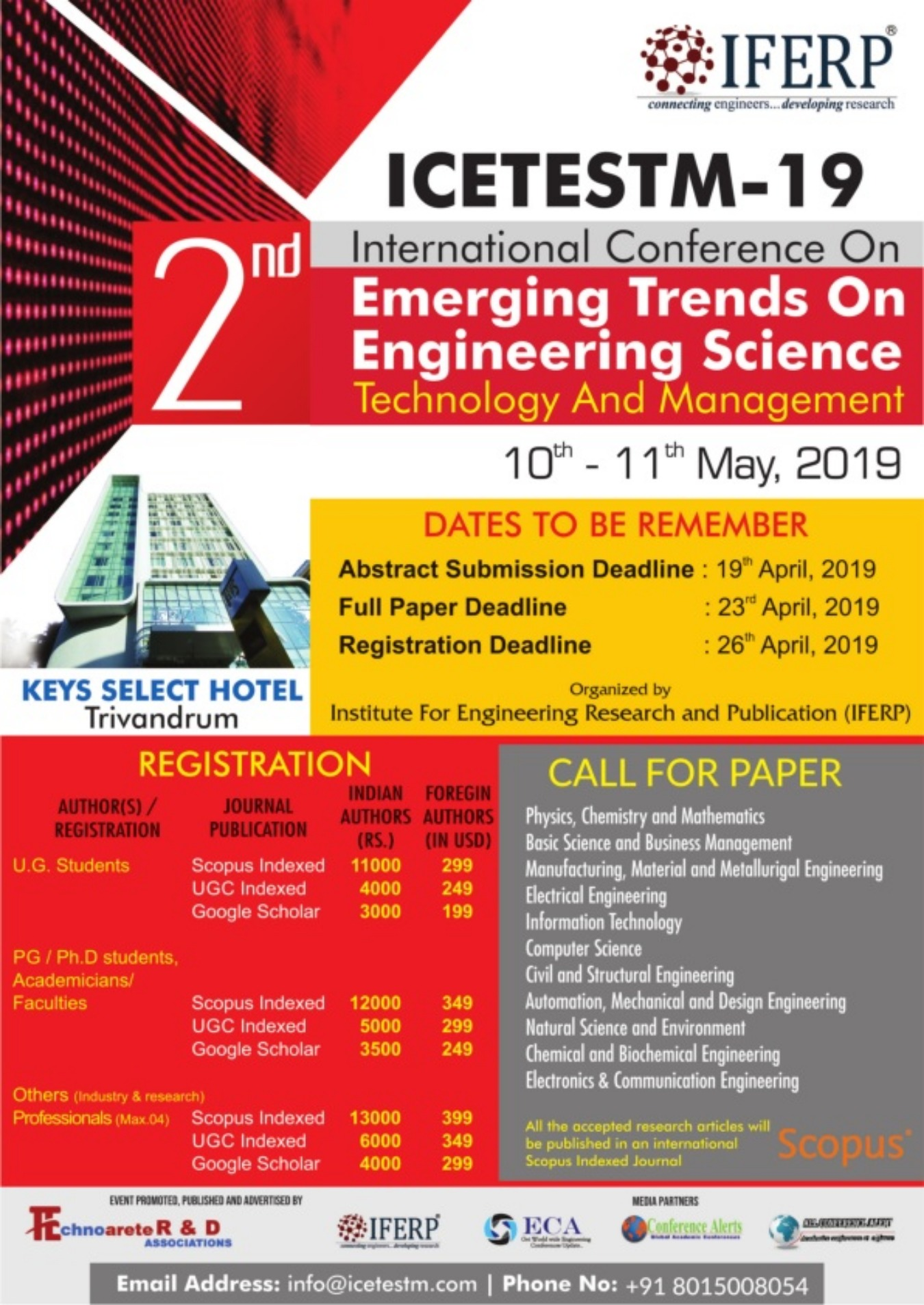 2nd International Conference On Emerging Trends On Engineering Science,  Technology And Management Tickets by ICETESTM Conference, 10 May, 2019,  Peyad