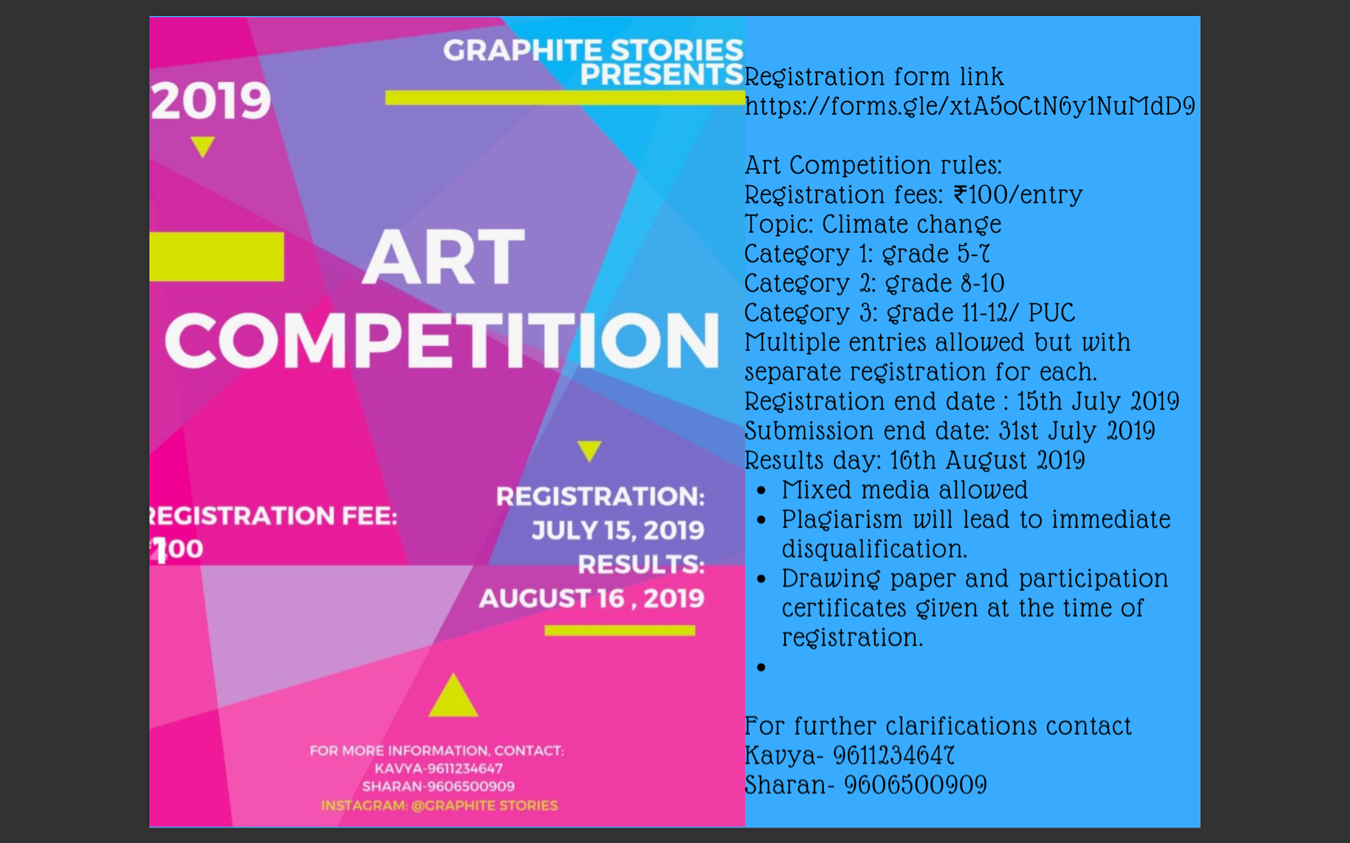 Art Competition Tickets by Kavya Bl, 8 Jul, 2019, Bengaluru Event