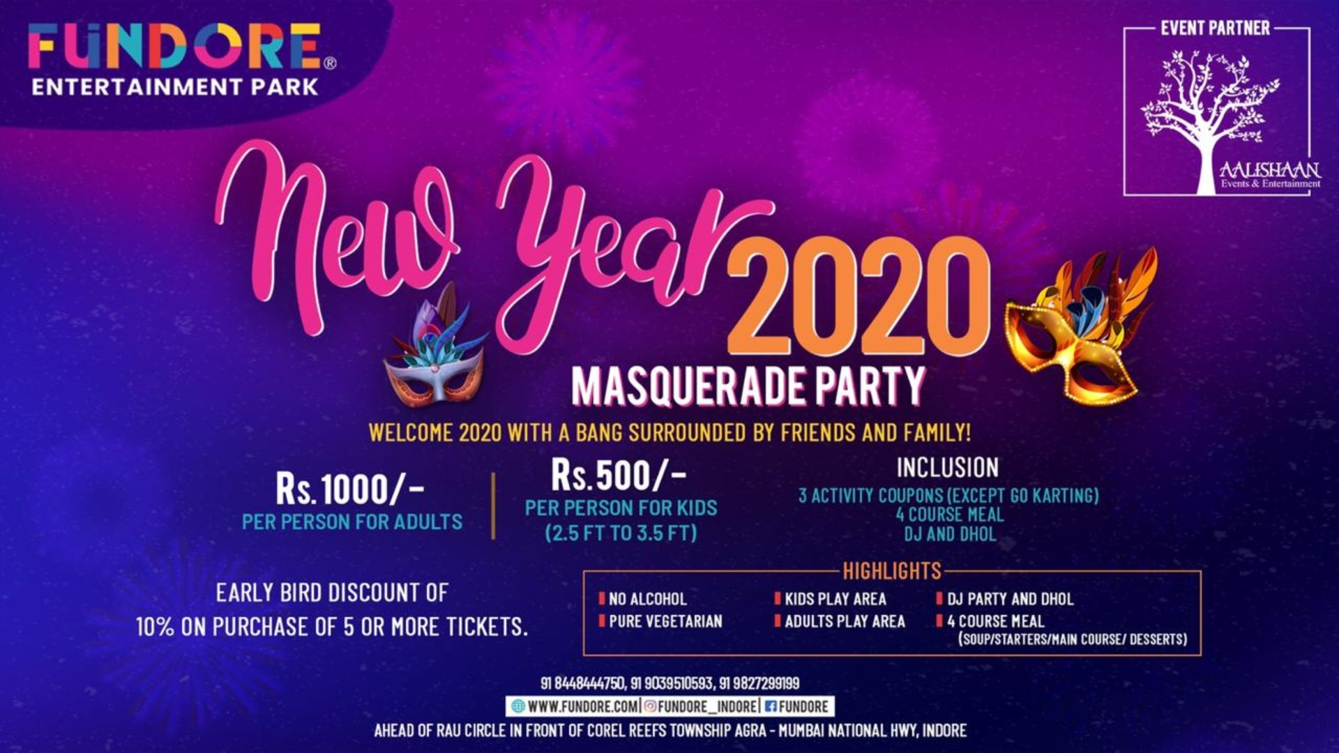 New Year Party With Family At Fundore Tickets By Fundore Entertainment Park Tuesday December 31 2019 Indore Event