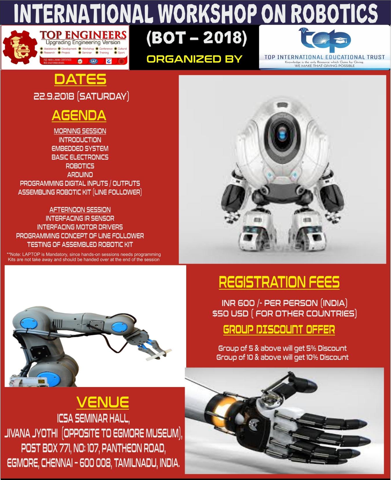 International Workshop On Robotics Bot 2018 Tickets By Top