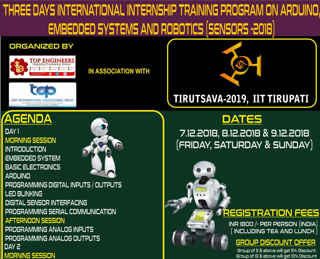 THREE DAYS INTERNATIONAL INTERNSHIP TRAINING PROGRAM ON ARDUINO, EMBEDDED  SYSTEMS AND ROBOTICS Tickets by Ercess Live, 7 Dec, 2018, Chennai Event
