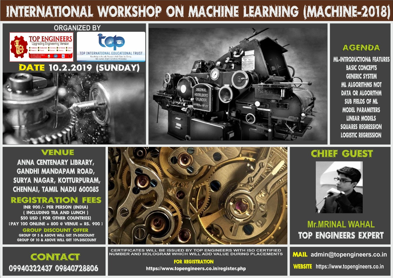 WORKSHOP ON MACHINE LEARNING Tickets by TOP ENGINEERS, 10 Feb, 2019,  Chennai Event