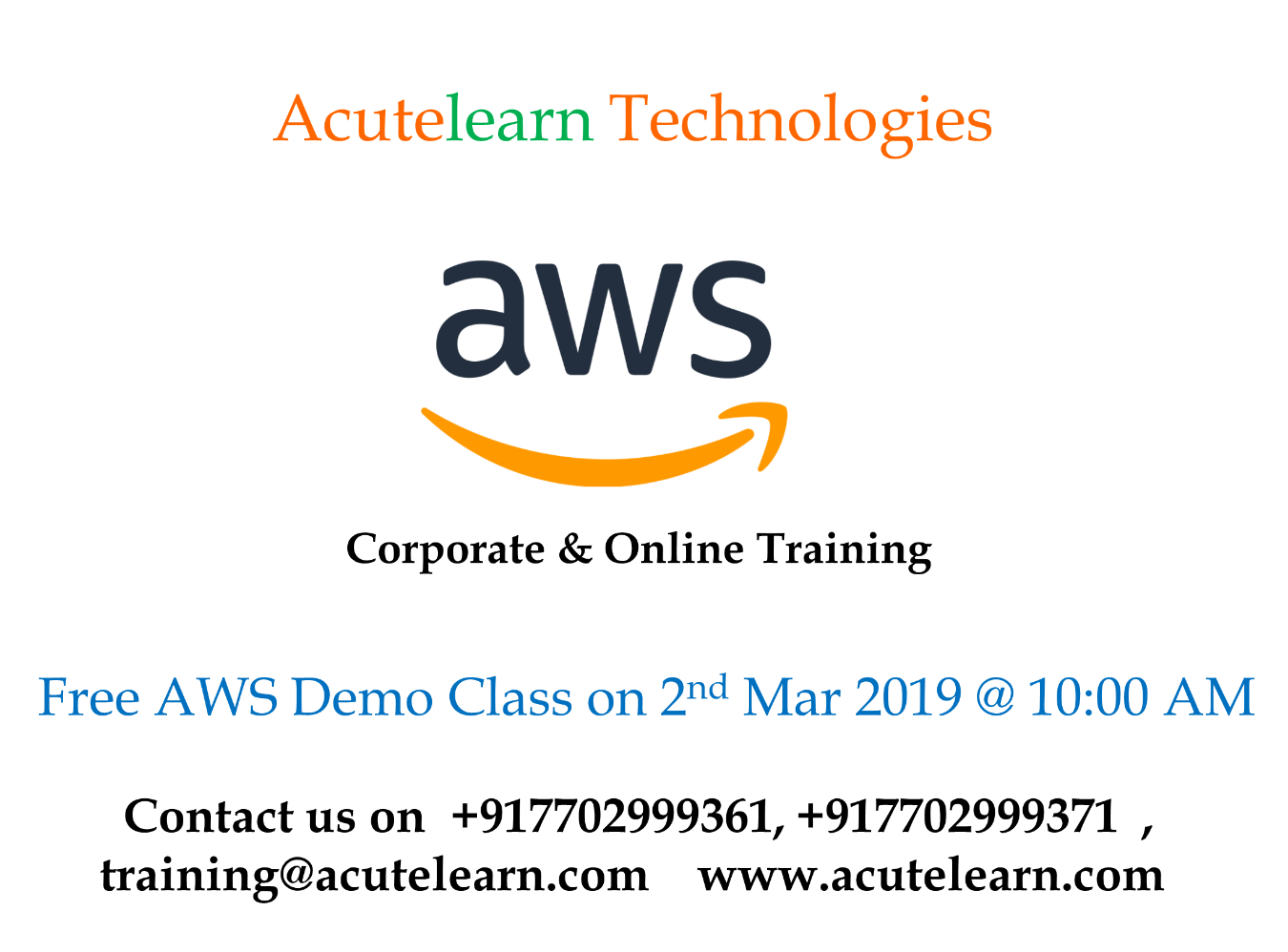 AWS demo session on 02-Mar-19 i e  Saturday at 10AM(IST
