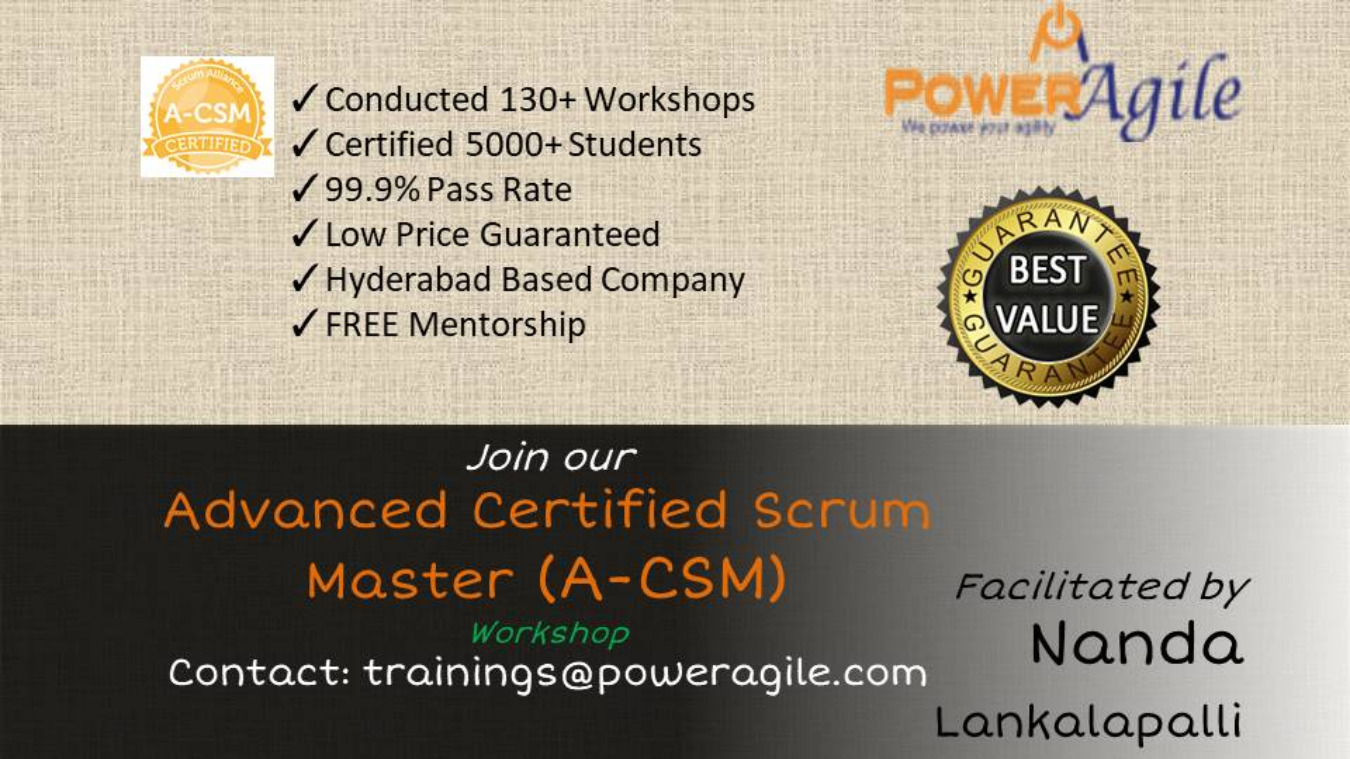 Advance Certified Scrum Master Training In Pune By Power Agile On 25