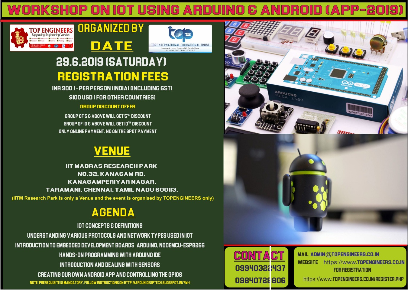 WORKSHOP ON IOT USING ARDUINO & ANDROID (APP-2019) Tickets by TOP  ENGINEERS, 29 Jun, 2019, Chennai Event