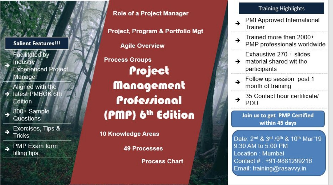 Project Management Professional Pmp Certification Tickets By