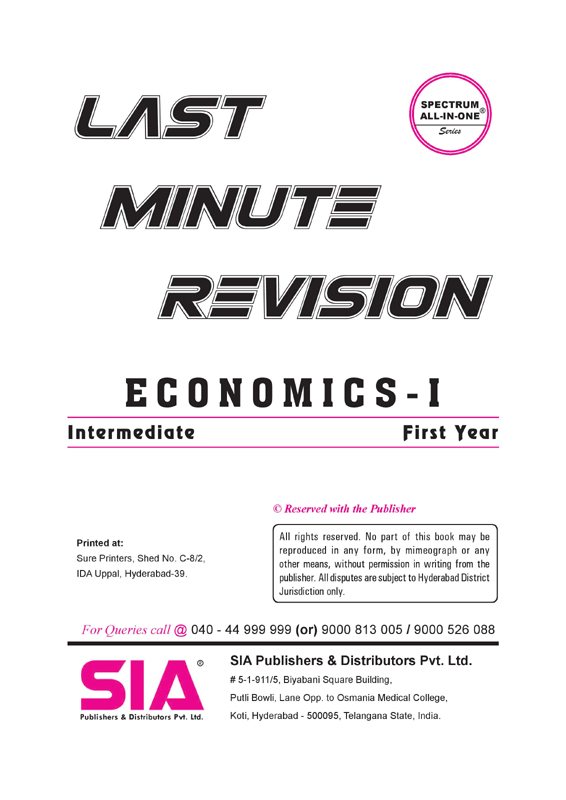 ECONOMICS I-YEAR [LAST MINUTE REVISION]