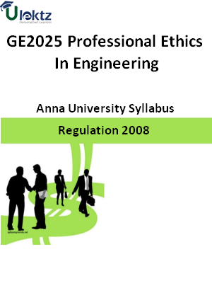 Professional Ethics In Engineering - Syllabus