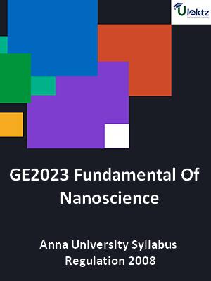 Fundamentals of Nanoscience - Syllabus