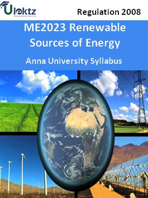 Renewable Sources of Energy - Syllabus