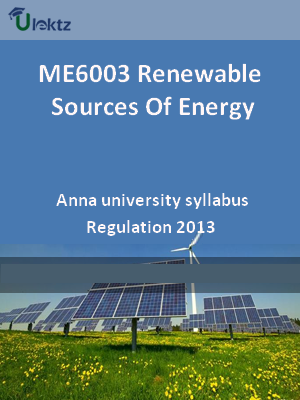 Renewable Sources Of Energy - Syllabus