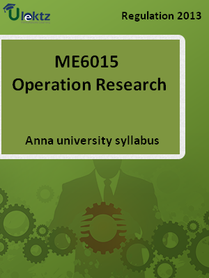 Operation Research - Syllabus