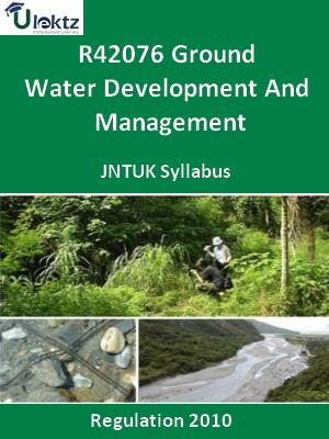 Ground Water Development And Management - Syllabus