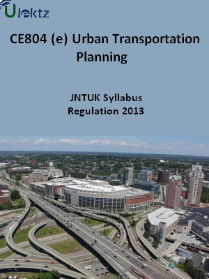 (e) Urban Transportation Planning - Syllabus
