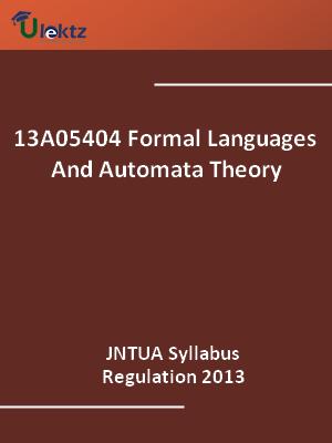 Formal Languages And Automata Theory - Syllabus