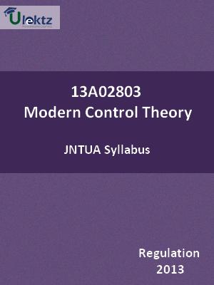 Modern Control Theory - Syllabus