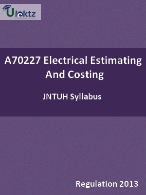 Electrical Estimating And Costing - Syllabus