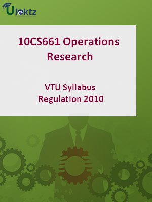 Operations Research - Syllabus