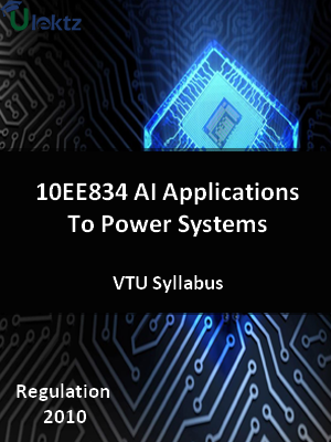 AI Applications To Power Systems - Syllabus