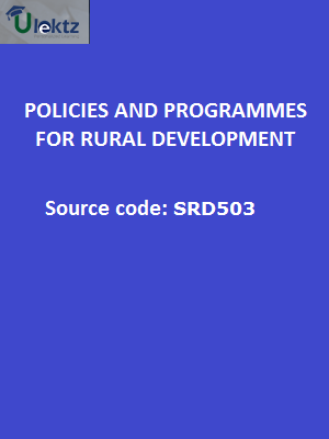 Policies and Programmes for Rural Development Block-1: Vision for India's Rural Development