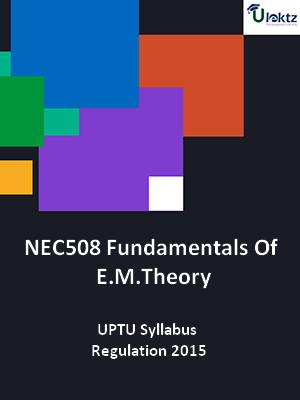 Fundamentals Of E.M.Theory - Syllabus